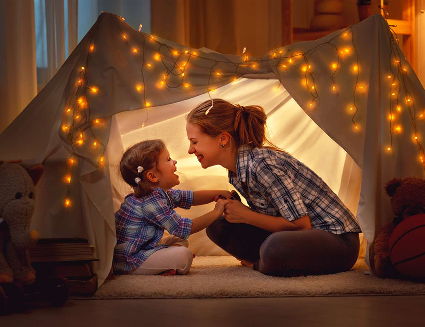 Mother & Daugther in tent